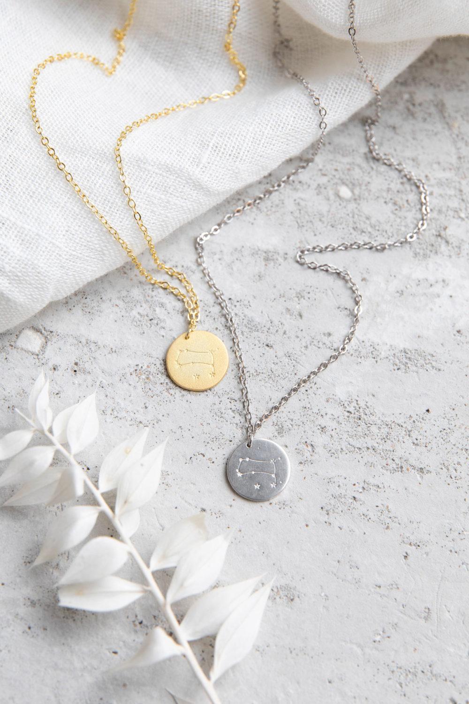 COSMIC COLLECTION ZWILLINGE Kette gold und mit goldenem oder silbernem Plättchen mit Zwillings-Sternzeichen und NAIONA Plättchen. Trockenblumen, Tuch.