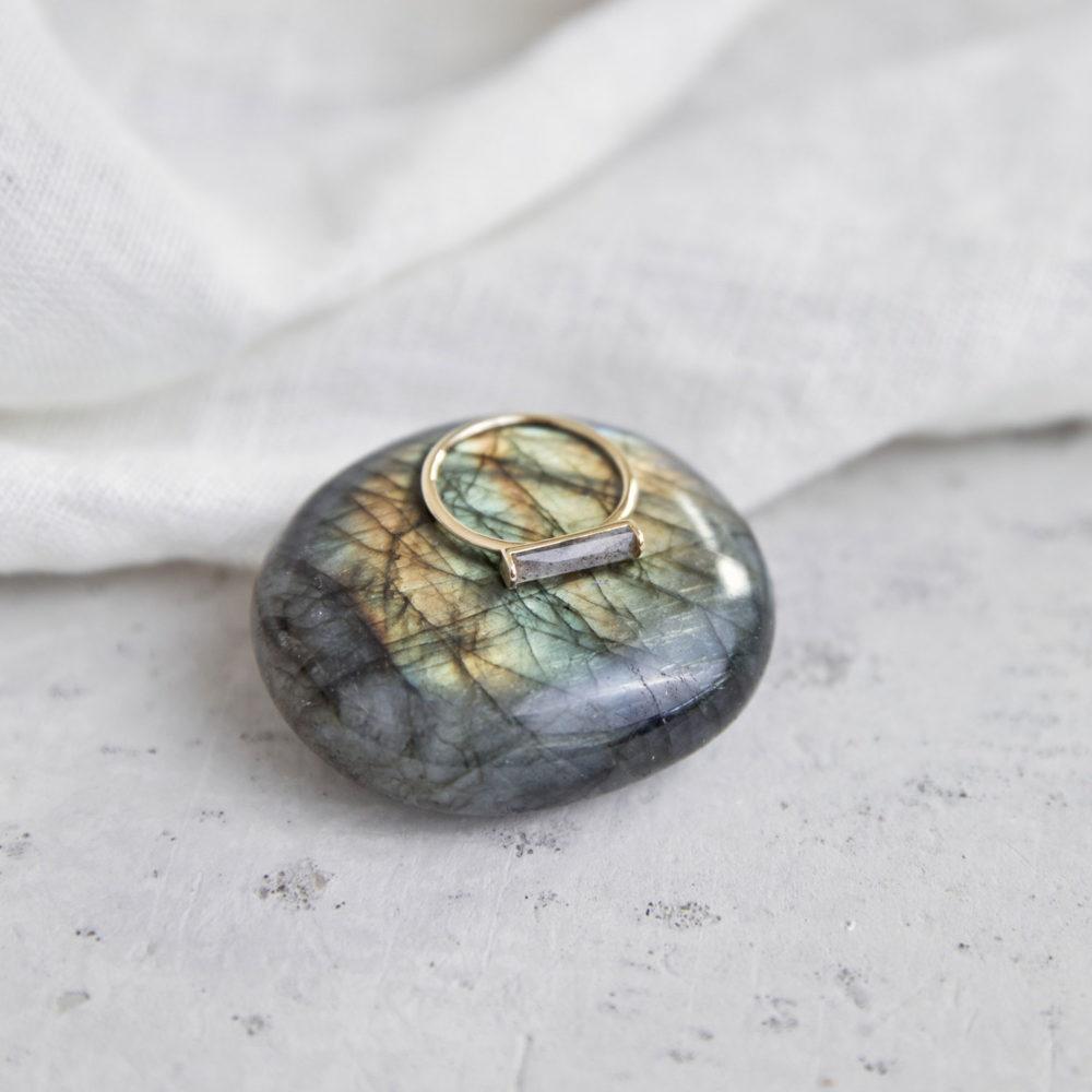CREATE YOUR MAGIC Ring vergoldet gold mit Labradorit Stein grau. NAIONA, Fingerschmuck, Tuch, Labradorit Stein grau.