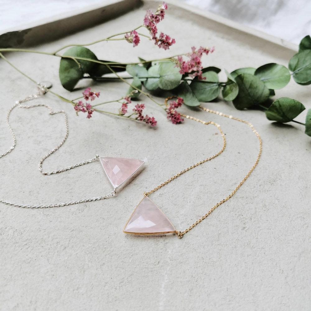 OH SWEET HEART Kette gold silber – WANDAFUL COLLECTION mit Rosenquarz und NAIONA Plättchen. Trockenblumen, Eukalyptus.